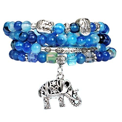 [CASOTY Good Luck Buddha Elephant Charm Bead Wrap Bracelet Mala] (Indian Beaded Bracelet)