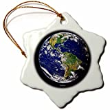 3dRose orn_76840_1 Solar System Western Hemisphere of The Earth Snowflake Porcelain Ornament, 3-Inch
