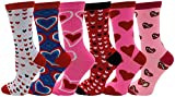 Heart Print Crew Socks for Women, 12 Pairs Valentines Day Pink Love Colorful Pattern Novelty Cute Gift, Mothers Day (6 Pairs Colorful Hearts)
