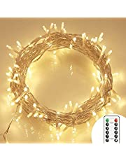 [Remote and Timer] 36ft 100 LED Outdoor Battery Fairy Lights (8 Modes, Dimmable, IP65 Waterproof, Warm White)