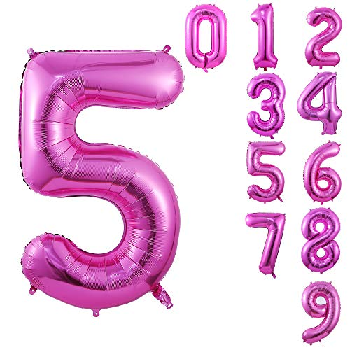 40 Inch Large Pink Balloon Number 5 Balloon Helium Foil Mylar Balloons Party Festival Decorations Birthday Anniversary Party Supplies -