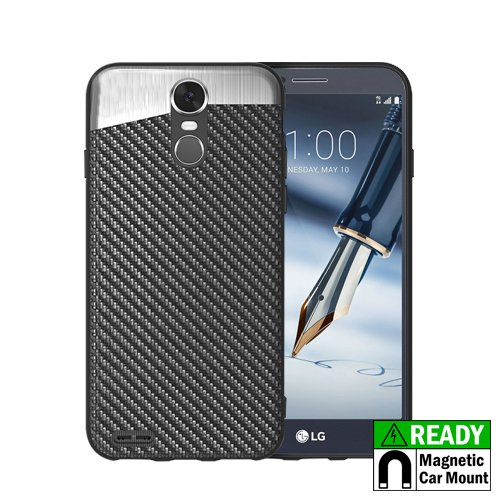 Lg Stylo 3 Stylus 3 Stylo 3 Plus Shock Absorption Slim Protective Case With Built In Metal Plate  Lightweight Cell Phone Case Cover For Boost Mobile   Metropcs   Sprint   T Mobile   Black Carbon Fiber