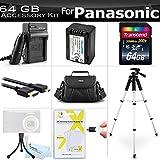 64GB Accessory Kit For Panasonic HC-VX870K, HC-V770K, HC-WX970K, HC-WXF991K, HC-VX981K HD Camcorder Includes 64GB High Speed SD Memory Card + Replacement VW-VBT190 Battery + Charger + Case + Tripod ++