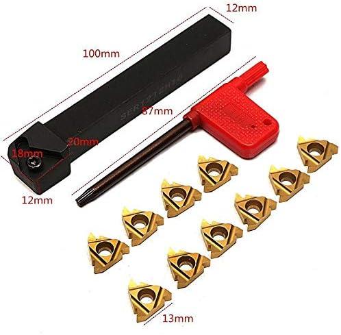 GENERICS LSB-Werkzeuge, 1 Stück SER1212H16 CNC Werkzeughalter Bohrstangenhalter + 10 Stücke 16ER AG60 Wendeplatten mit Schraubenschlüssel for Drehmaschine Drehwerkzeug Set