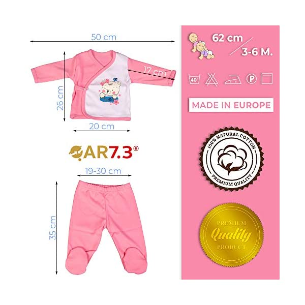 QAR7.3 Completo Vestiti Neonato 3-6 mesi - Set Regalo, Corredino da 5 pezzi: Body, Pigiama, Bavaglino e Cuffietta (Rosa… 3