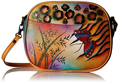 Anna by AnuschkaWomen's Genuine Leather Multi-Compartment Convertible Bag | Hand-Painted Original Artwork | Jungle Butterfly