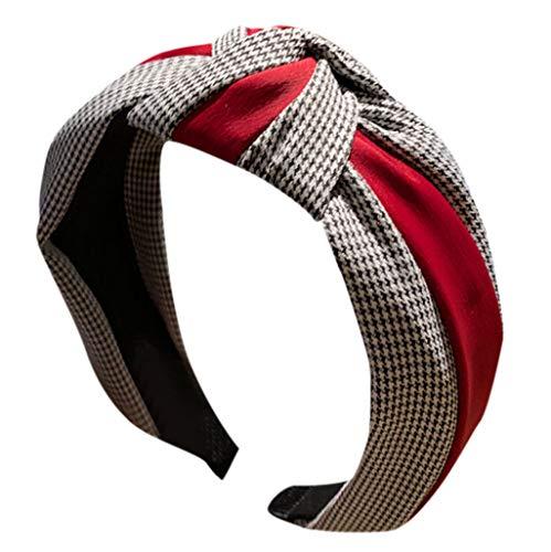 Fashionhe Women's Hair Accessories Striped Headband Bow Head Hoop Headband Hair Band Beauty Tools(Red)