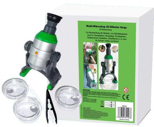 Kinder Mikroskop Set mit LED Beleuchtung 20-50 fache Vergrößerung