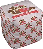 Chipmunk Couple Cube Pouf Ottoman - 13'' (Personalized)