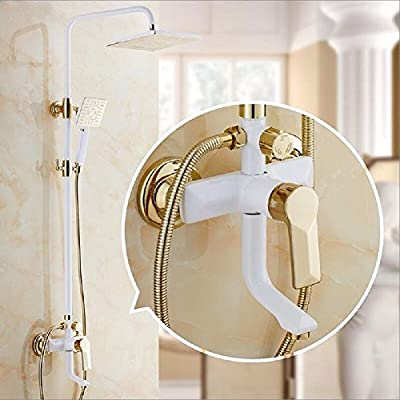 ETERNAL QUALITY Bathroom Sink Basin Tap Brass Mixer Tap Washroom Mixer Faucet The white and gold grill white paint shower Kit Full Brass Body Faucet Shower Water mixing valve C Kit