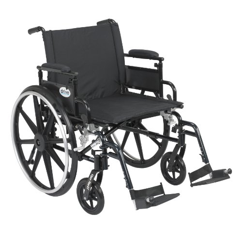 "Drive Medical Viper Plus GT Wheelchair with Flip Back Removable Adjustable Desk Arms, Swing Away Footrests, 22"" Seat"