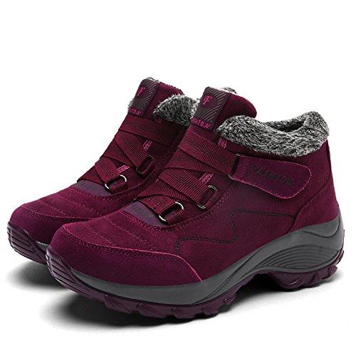 Gomnear Frau Wanderstiefel Trekking Schuhe Warm Pelz gefüttert Hoher Aufstieg Rutschfest Draussen Winter Turnschuhe rotes