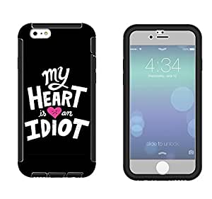 329 - My Heart is an idiot Design iphone 4 4S Full Body CASE With Build in Screen Protector Rubber Defender Shockproof Heavy Duty Builders Protective Cover