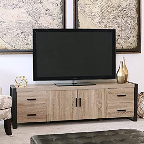 WE Furniture 70 Industrial Wood TV Stand Console Driftwood