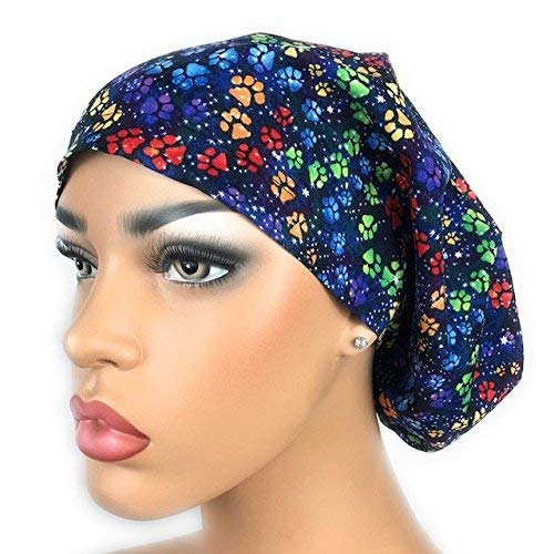Womens Surgical Scrub Hat OR Nurse Cap Euro Style Adjustable Blue with Multicolored Paw Prints