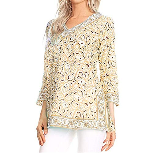 (TIFENNY Plus Size Pullover for Womens Casual V-Neck Folk-Custom Print 3/4 Sleeve Tops Fashion New T-Shirt Blouse)