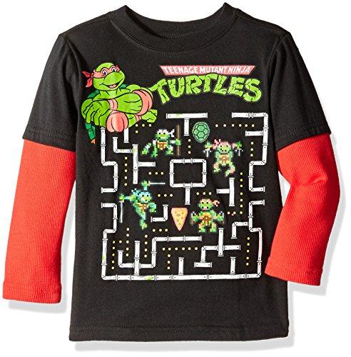 Teenage Mutant Ninja Turtles Toddler Boys Long Sleeve Two-Fer T-Shirt with Thermal Sleeves, Black/Red, 2T ()