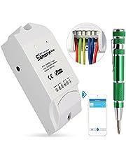 Sonoff TH16 Temperatura y Humedad WiFi Smart Switch Controlador Inteligente Interruptor Remoto para Hogar Inteligente (No es impermeable) + 9-en-1 Aleación de Aluminio de Destornilladores de Precisión