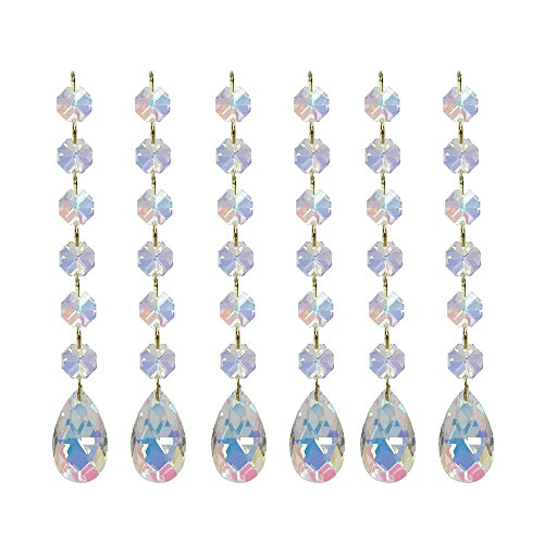 Poproo Teardrop Octagon Crystal Glass Beads Pendant for Chandelier Lamp Curtain Decor, 6-pack (AB) - Ab 14mm Crystal Beads
