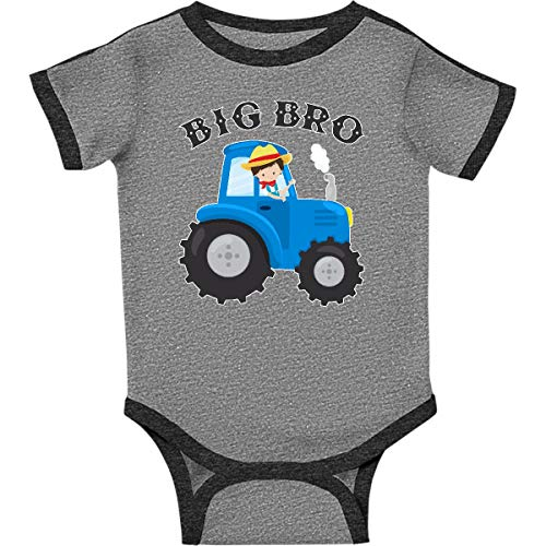 inktastic Farmer Tractor Big Infant Creeper 18 Months Ringer Heather and Smoke ()