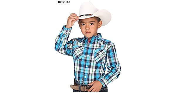 Amazon.com: Camisa Vaquera Western Shirt de Boys L/Sleeve (CWN) El General ID 33165 Blue: Clothing