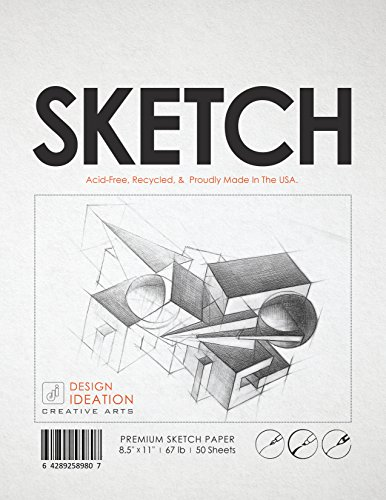 Best Charcoal Paper (Premium Sketch Paper for Pencil, Ink, Marker, Charcoal and Watercolor Paints. Great for Art, Design and Education. Loose Pack. (50 Sheets(8.5