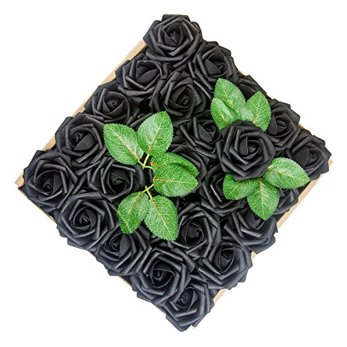 Umiss Dinopure Wedding Bouquet 50pcs Artificial Flowers White Real Touch Artificial Roses Bouquets Centerpieces Wedding Party Baby Shower DIY Decorations (Black) ()