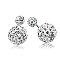 CharmGirl Stud Earrings Gold Plated Sterling Silver Reversible Double Sided*Swarovski Elements*