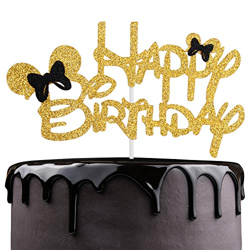 Mickey Happy Birthaday Cake Topper - Celebrate Baby Shower Kids Birthday Party Décor - Adorable Disney Theme Gold Glitter Mouse Ear Decoration (Birthday Toppers Cake Disney)
