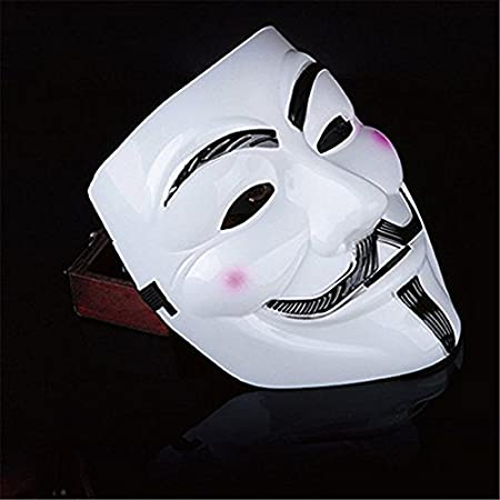 Amazon.com: Vendetta Mask Guy V Like Hacker Mask Bundled With Sticker For Fancy Cosplay Costume Set of 2 (Styel A): Toys & Games