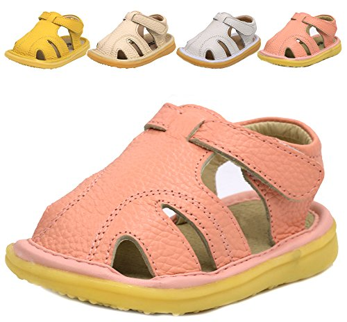 LONSOEN Baby Toddler Boy Girl Summer Outdoor Soft Leather Sandals(Infant/Toddler),Pink KSD009 CN17