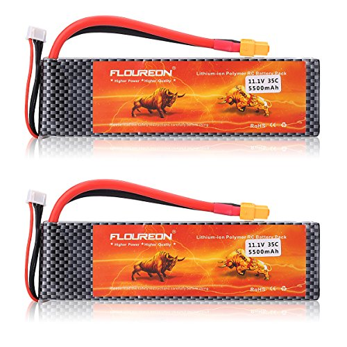 35c Lipo Pack (FLOUREON 2Packs 3S 11.1V 5500mAh 35C Lipo Battery Pack with XT60 Plug for RC Quadcopter Airplane Helicopter Car Truck Boat Hobby (XT60 Plug))