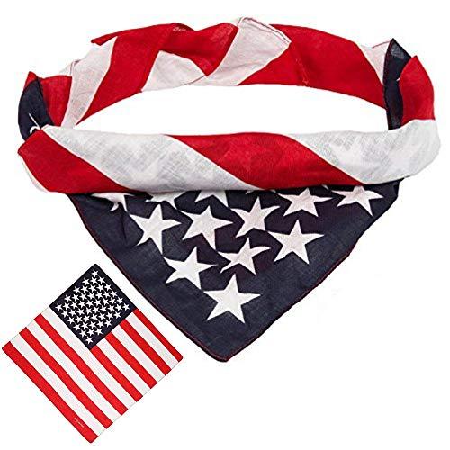 BETTERLINE American Flag Bandana Headband - USA Flag Patriotic 100% Cotton Apparel - 22