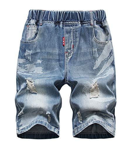 - LOKTARC Boys' Ripped Jeans Knee Length Frayed Pull-On Distressed Denim Shorts Blue 10-11T