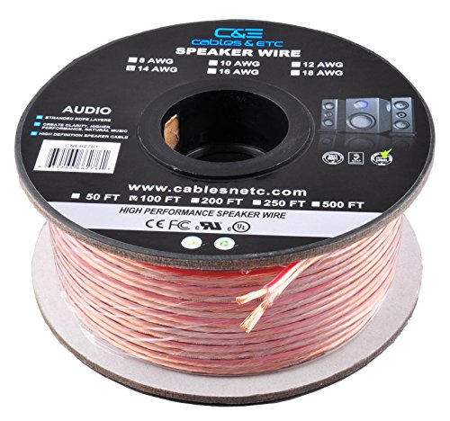 Speaker High Professional Definition (C&E 100 Feet 14AWG Enhanced Loud Oxygen-Free Copper Speaker Wire Cable, CNE62761)