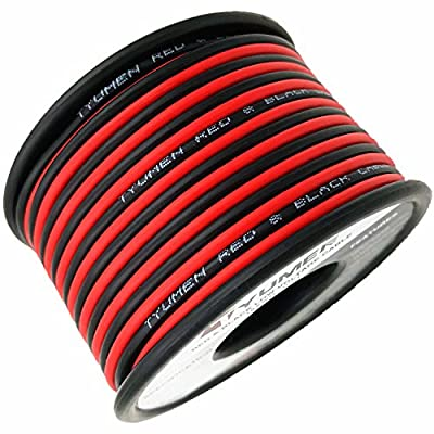 TYUMEN 40FT 18 Gauge 2pin 2 Color Red Black Cable Hookup Electrical Wire LED Strips Extension Wire 12V/24V DC Cable, 18AWG Flexible Stranded Wire Extension Cord for LED Ribbon Lamp Tape Lighting