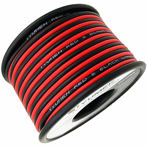 TYUMEN 40FT 18 Gauge 2pin 2 Color Red Black Cable Hookup Electrical Wire LED Strips Extension Wire 12V/24V DC Cable, 18AWG Flexible Wire Extension Cord for LED Ribbon Lamp Tape ()