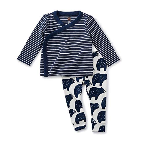 (Tea Collection Wrap Top Baby Outfit, Indigo, Navy/White Stripe Top with White/Navy Bears Pants (0-3 Months))