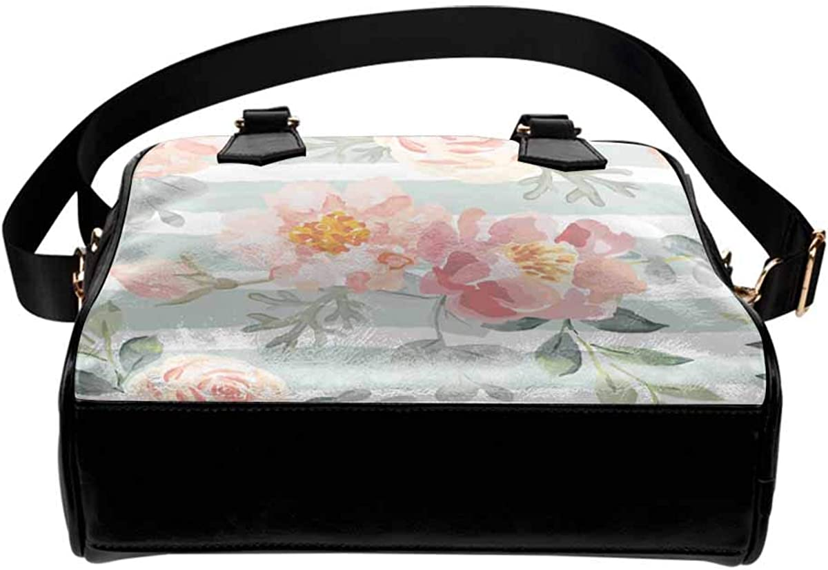 InterestPrint Pink Roses and Peonies With Gray Leaves on the Striped Background Womens Top Handle PU Leather Shoulder Satchel Bag