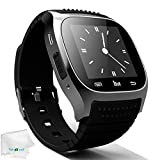 Bluetooth Smart Watch Touch Screen Smartwatch Pedometer Unlocked Wristwatch Fitness Tracker for Android Samsung Galaxy S9 S8 S7 S6 S5 Note 8 5 4 J7 J5 Motorola iPhone 8 7 6S X 5S Men Women Kids Black