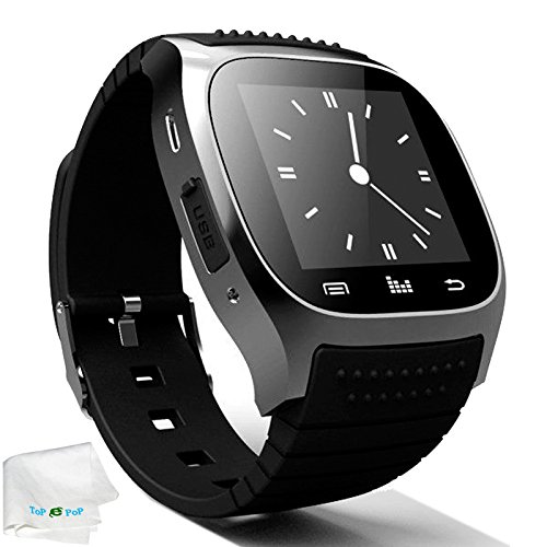 Bluetooth Smart Watch Touch Screen Smartwatch Pedometer Unlocked Wristwatch Fitness Tracker for Android Samsung Galaxy S9 S8 S7 S6 S5 Note 8 5 4 J7 J5 Motorola iPhone 8 7 6S X 5S Men Women Kids Black