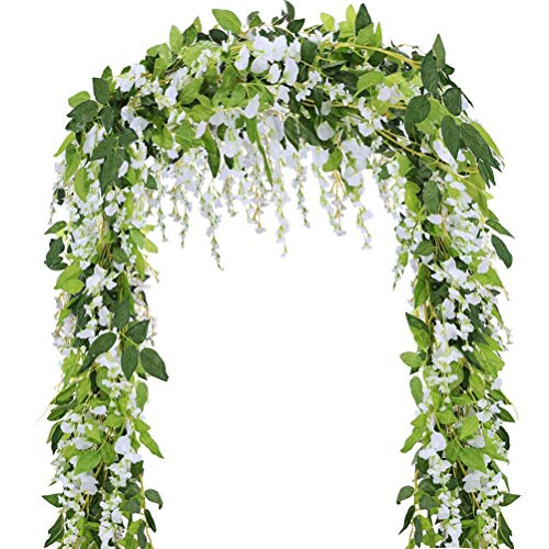 5 Pcs-31ft Artificial Silk Wisteria Flowers Hanging Vine Fau