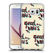 Official Cat Coquillette Good Vibes Red Cyan Quotes Typography 4 Soft Gel Case for Samsung Galaxy Note8 / Note 8