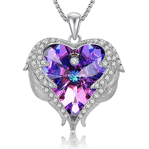 Caperci Valentines Gift Purple Swarovski Crystal Heart Pendant Necklace for Women Daughter and Girls, ()