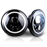 Jeep Wrangler 7 inch Round CREE LED Headlights with Halo Ring