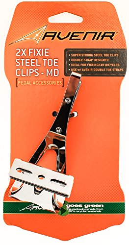 AVENIR 2X FIXIE STEEL TOE CLIPS MD Bike Pedals Strapless Double Strap Silver by Avenir