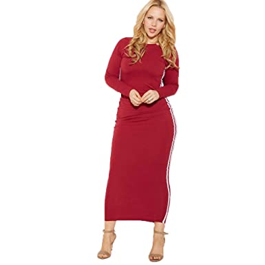 b990e94bf59 Rebdolls Long Sleeve Crew Neck Body Conscious Maxi Dress - 2 Side Stripe  (Small)