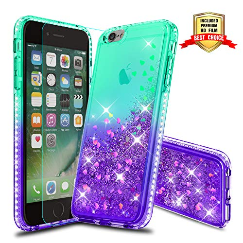 iPhone 6S Plus Case, Girly Cases with HD Screen Protector, Atump Fun Glitter Liquid Sparkle Diamond Cute TPU Silicone Protective Phone Cover (5.5 inch) for iPhone 7 Plus/8 Plus/ 6 Plus Green/Purple]()