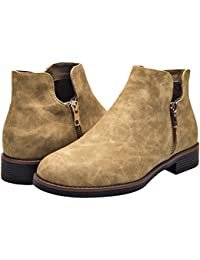 Women's Ankle Boots, Low Heel Short Boots for Ladies, Slip On Side Zipper Martin Boots for Girls.