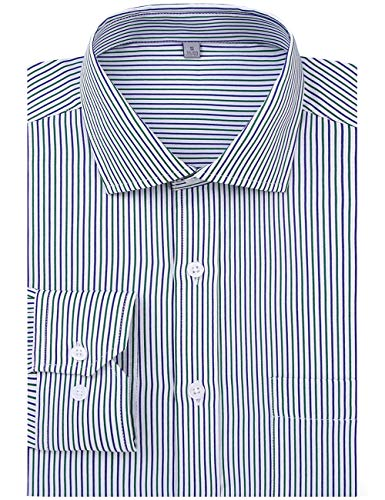 DOKKIA Men's Formal Business Long Sleeve Plaid Striped Poplin Dress Shirt (US XL=Label XXL, Green Blue White Stripe) - Green Organic Woven Shirt